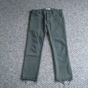 Nili Lotan olive boyfriend jeans crop pants 0